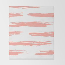 Pretty Pink Brush Stripes Horizontal Throw Blanket