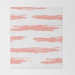 Pretty Pink Brush Stripes Horizontal Throw Blanket