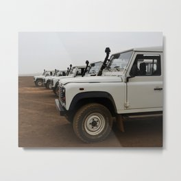 Classic Landrover Defender 3 | classic cars photography | white oldtimers Metal Print