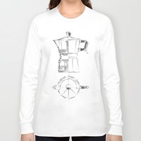 blueprint Long Sleeve T-shirts featuring Coffee pot blueprint sketch  by Eltina Giannopoulou