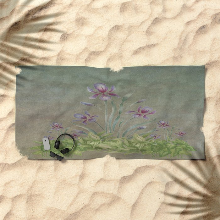 Painterly Spring Flower Garden  Beach Towel