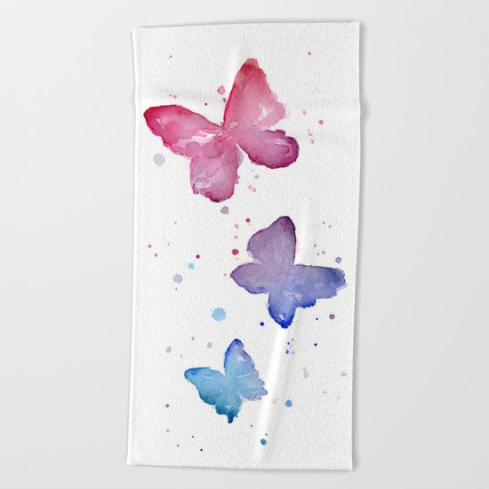 Butterflies Watercolor Beach Towel