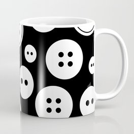 Black and White Buttons Pattern Coffee Mug