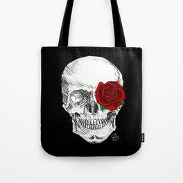 Rose Skull Black Tote Bag