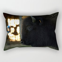 Dad's Bison at Dusk Rectangular Pillow