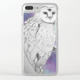 Owl with a third eye and crystal ball Clear iPhone Case