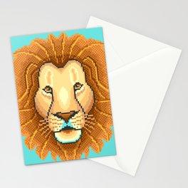 Modern pixel lion head on cyan background Stationery Cards