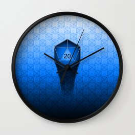 D20 All I Do Is Crit!  Blue Ombre Wall Clock