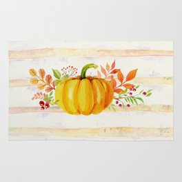 Pumpkin in Watercolor with Striped Background Rug