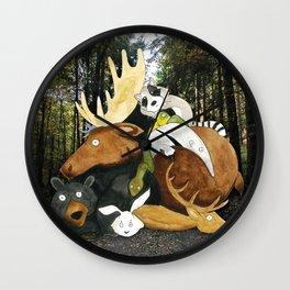 animal pile Wall Clock