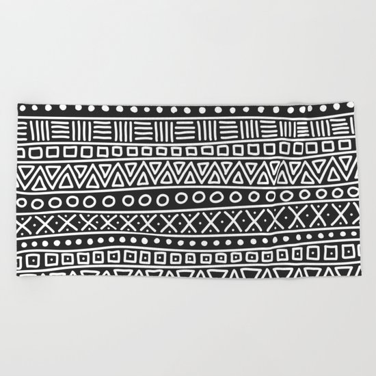 Geometric Doodle Plaid Beach Towel