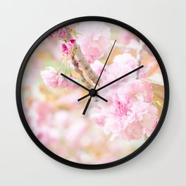 double cherry blossoms in japanese garden Wall Clock