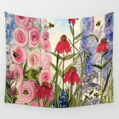 Contemporary Cottage Garden Flower Painting  Wall Tapestry
