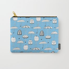 Happy Umbrellas Pattern - blue Carry-All Pouch
