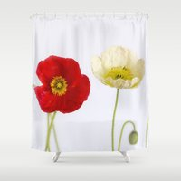 poppies Shower Curtains featuring poppies by Life Through the Lens