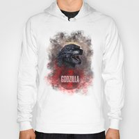 godzilla Hoodies featuring Godzilla by Denda Reloaded