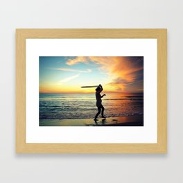 Sunset Hula Hooper Framed Art Print