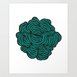 Intricate cut paper in turquoise Art Print