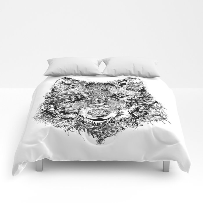 floral animals -black and white wolf Comforters
