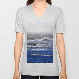 Wind Blown Stormy Seas Unisex V-Neck