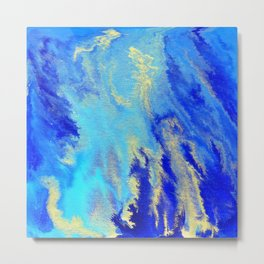 Gold & blue abstract 1710009 Metal Print