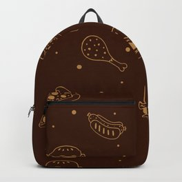 Fast Food Snacks Attack - Pizza Pie Hot Dogs Chicken Wings! on Brown Backpack