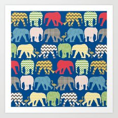 baby elephants and flamingos lapis Art Print