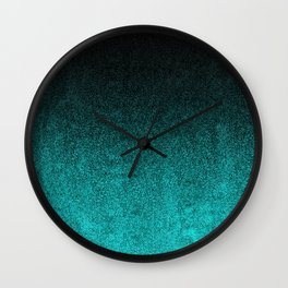 Aqua & Black Glitter Gradient Wall Clock