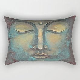 Rusty Golden Copper Buddha Face Watercolor Painting Rectangular Pillow
