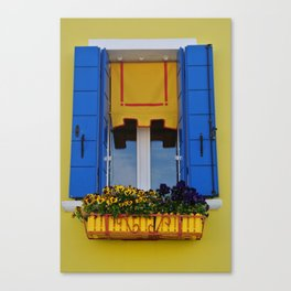 Blue & Yellow Burano Window Canvas Print