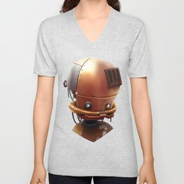 The wierd cute steampunk robot Unisex V-Neck