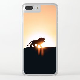 Lion Sunset Silhouette (Color) Clear iPhone Case