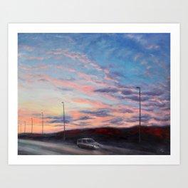 Freeway sunset Art Print