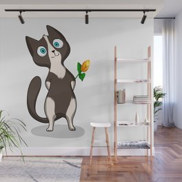 Tuxedo cat with flower Wall Mural