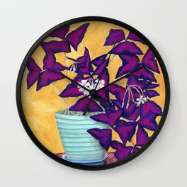 Purple Shamrock Houseplant Painting Wall Clock