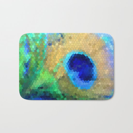 abstract peacock Bath Mat