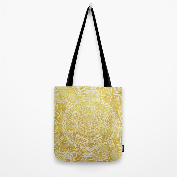 Medallion Pattern in Mustard and Cream Tote Bag