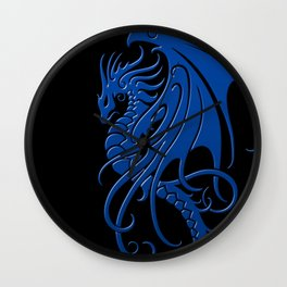 Flying Blue and Black Tribal Dragon Wall Clock