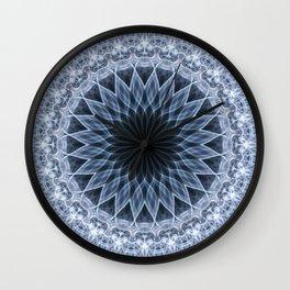 Mandala in blue and gray tones Wall Clock