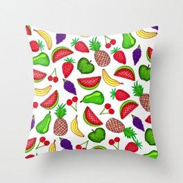 Tutti Fruity Hand Drawn Summer Mixed Fruit Throw Pillow
