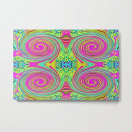 Groovy Abstract Pink Swirl Art 094 Pattern Metal Print