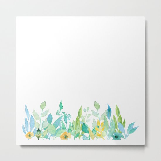 flowers in a meadow - Floral watercolor illustration on white background Metal Print