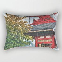 Kawase Hasui - Asakusa Morning Rain - Digital Remastered Edition Rectangular Pillow