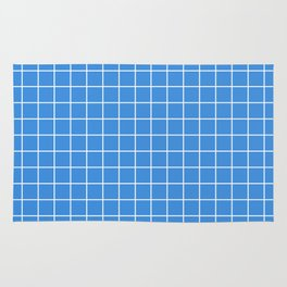 Tufts blue - turquoise color - White Lines Grid Pattern Rug