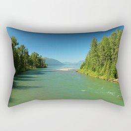 Green Waters Of McDonald River And Lake Rectangular Pillow