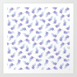 Bohemian hand painted lavender purple watercolor feathers Art Print