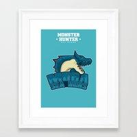 monster hunter Framed Art Prints featuring Monster Hunter All Stars - Moga Sea Dogs by Bleached ink