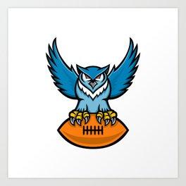 Great Horned Owl American Football Mascot Art Print