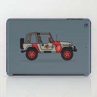 jurassic park iPad Cases featuring Jurassic Park Jeep by Adam Tetzlaff