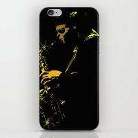 saxophone iPhone & iPod Skins featuring Saxophone Player by TilenHrovatic